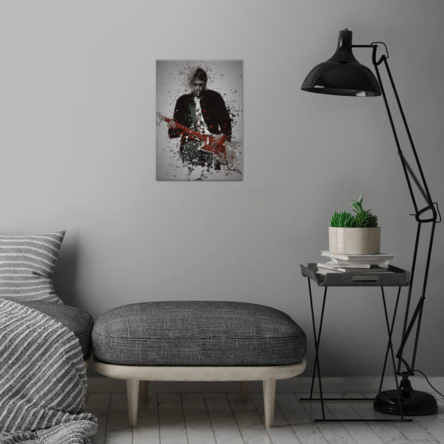Teen Spirit Music Legends Splatter Inspired by Kurt C .... wall art is showcased in interior