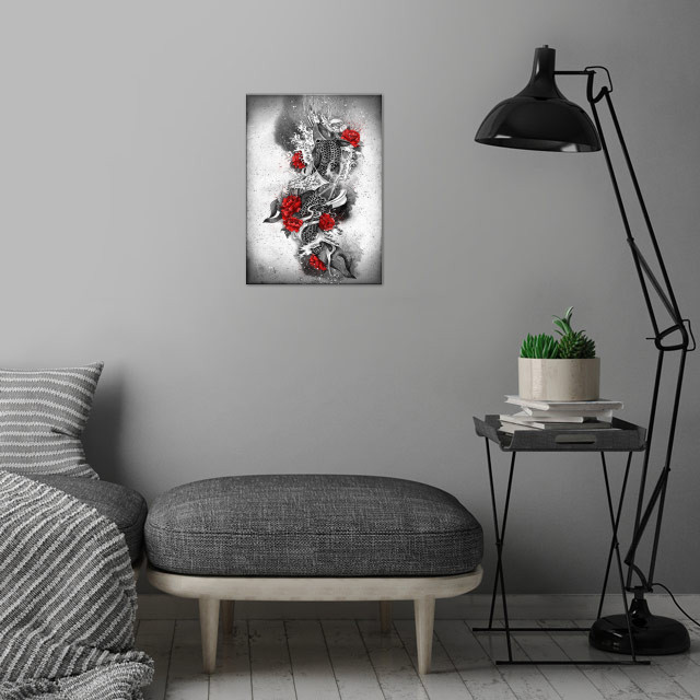 Two Kois and a river wall art is showcased in interior