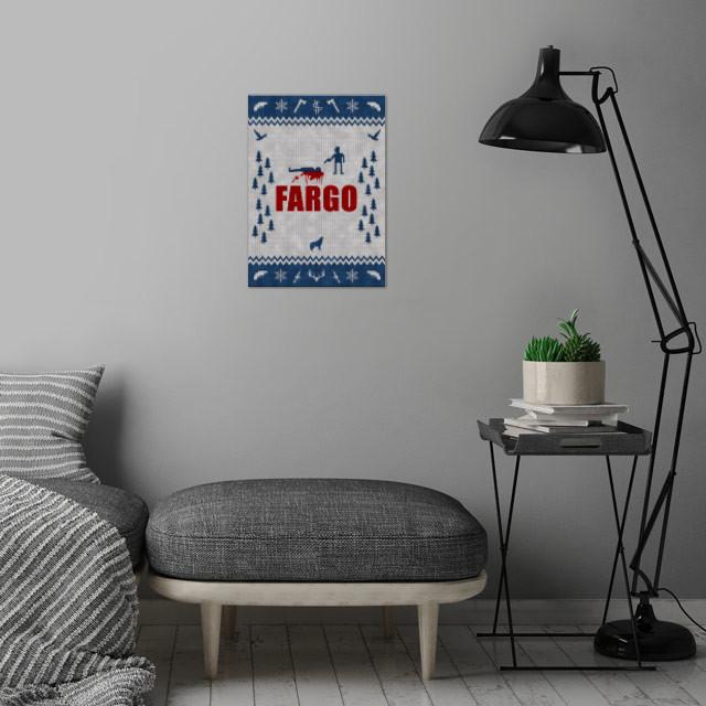 Fargo - Minimal Alternative Movie / TV series Poster. Knitted optics wall art is showcased in interior
