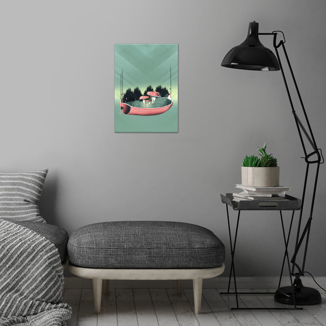 Fishing for Mushrooms | Digital Art, 2017 wall art is showcased in interior