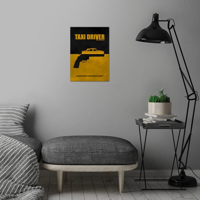 Taxi Driver - Minimal Alternative Movie Poster wall art is showcased in interior