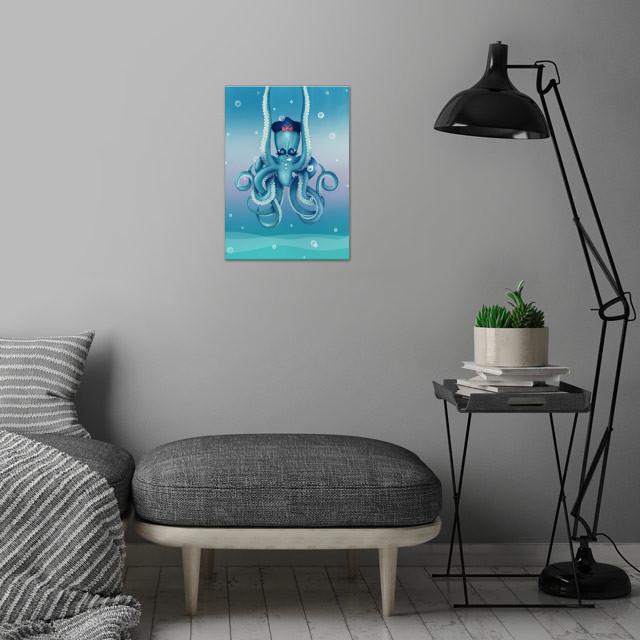 Octopus Dilemma | Digital Art, 2017 wall art is showcased in interior