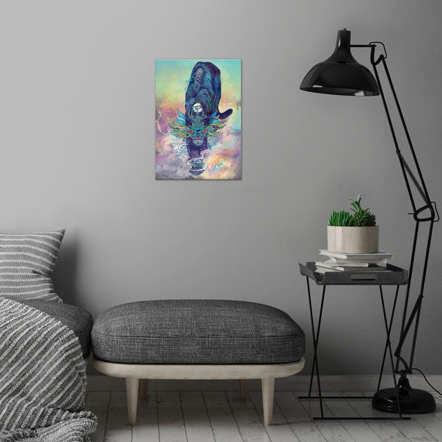 Spectral Cat wall art is showcased in interior