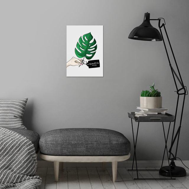 Monstera Deliciosa/botanical illustration by atogrzywa wall art is showcased in interior