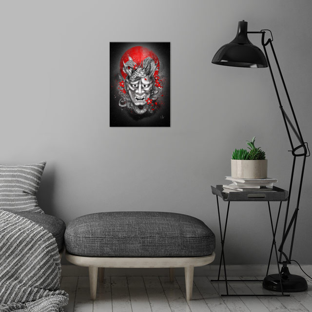 Hannya dragon mask wall art is showcased in interior
