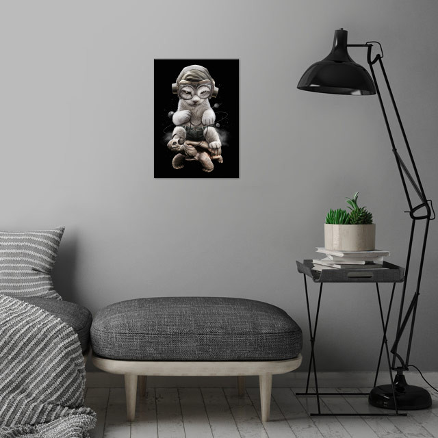 CAT RIDING TORTOISE wall art is showcased in interior