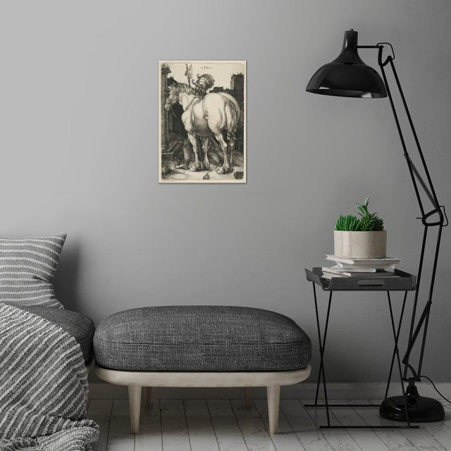 Albrecht Dürer - The Large Horse, 1505, engraving; Col... wall art is showcased in interior
