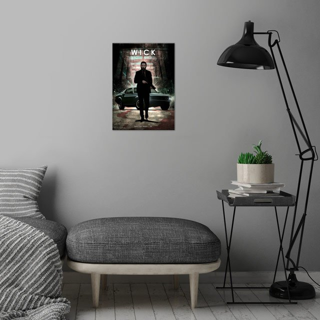John Wick wall art is showcased in interior