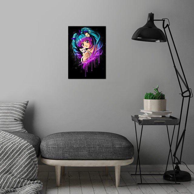 Cute anime girl with kitty cat. wall art is showcased in interior