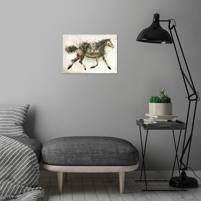 The horse another in my original art nature animal surr... wall art is showcased in interior
