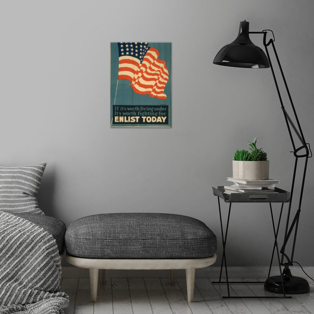 Vintage War Poster wall art is showcased in interior