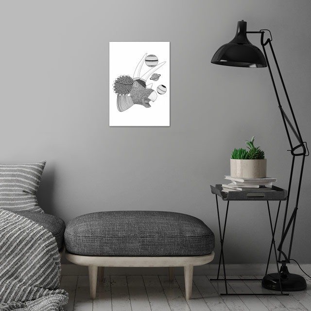 Triceratops wall art is showcased in interior