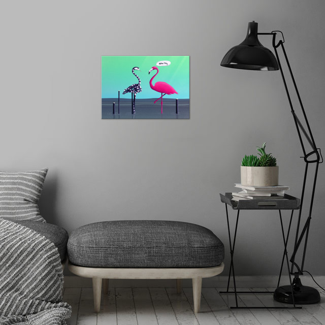 Nice Try, Flamingo! | Digital Art, 2017 wall art is showcased in interior