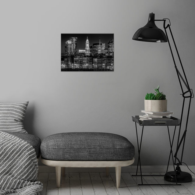 BOSTON Evening Skyline of North End & Financial District | Monochrome wall art is showcased in interior