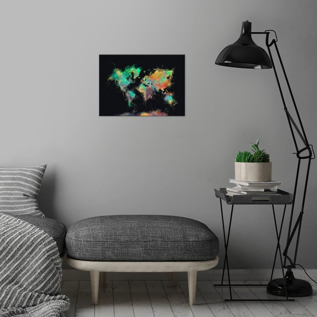 world map wall art is showcased in interior