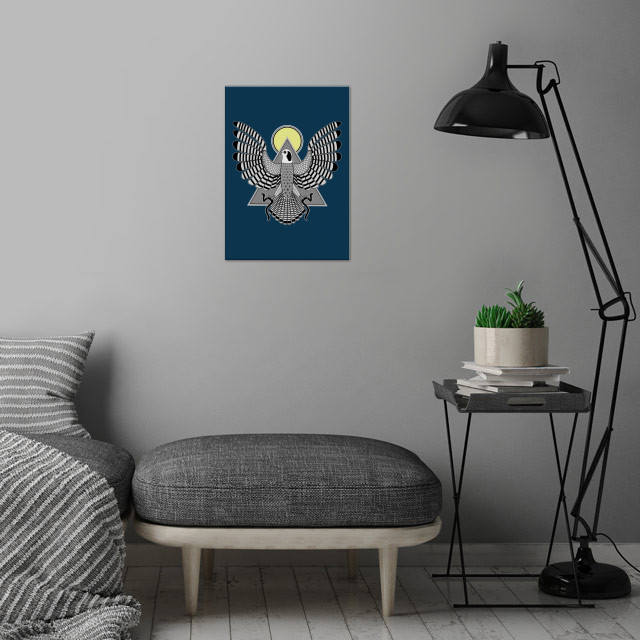 The Falcon, Horus, is the God of the Sky and soars above all the land and its inhabitants. He is a  symbol of divine Kingship and is also considered as the God of the rising Sun.  wall art is showcased in interior