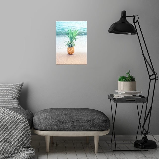Happy Pineapple at the beach wall art is showcased in interior