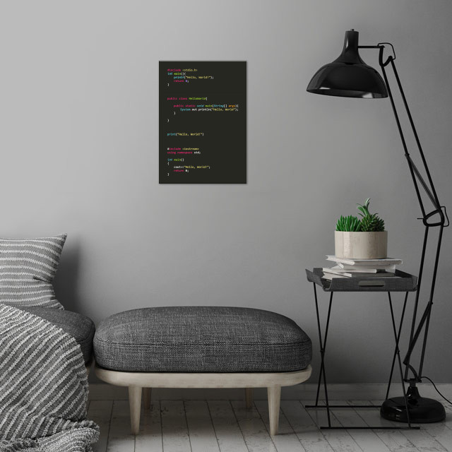 Programmer poster serie Hello World! wall art is showcased in interior