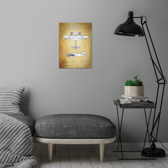 Bristol beaufighter blueprint by airpower art metal posters displate bristol beaufighter blueprint metal poster bristol beaufighter blueprint wall art is showcased in interior malvernweather Image collections