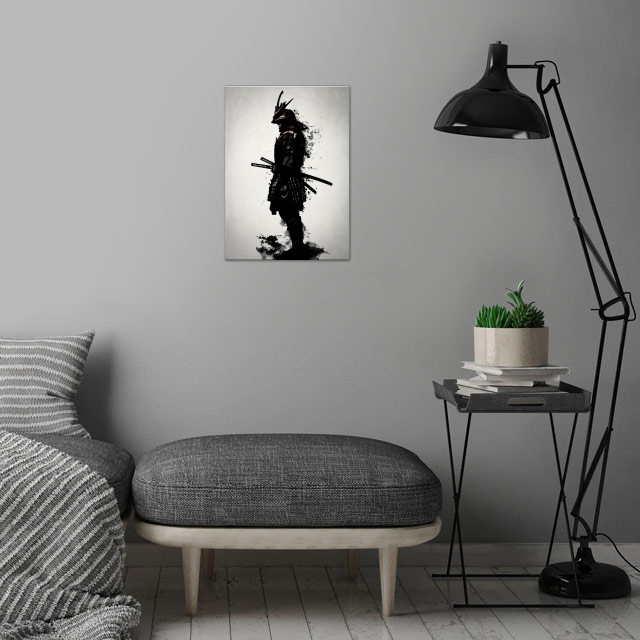 Armored Samurai - Mirrored wall art is showcased in interior