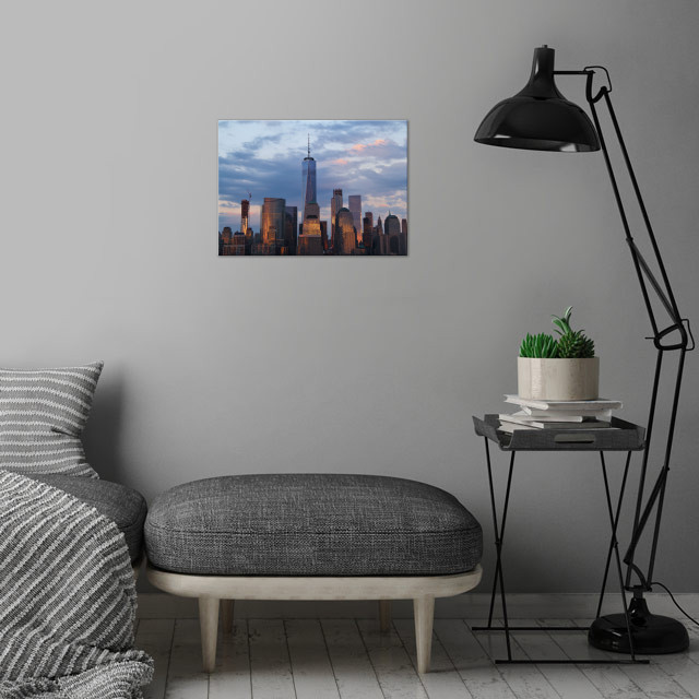 NYC Skyline at Dusk wall art is showcased in interior