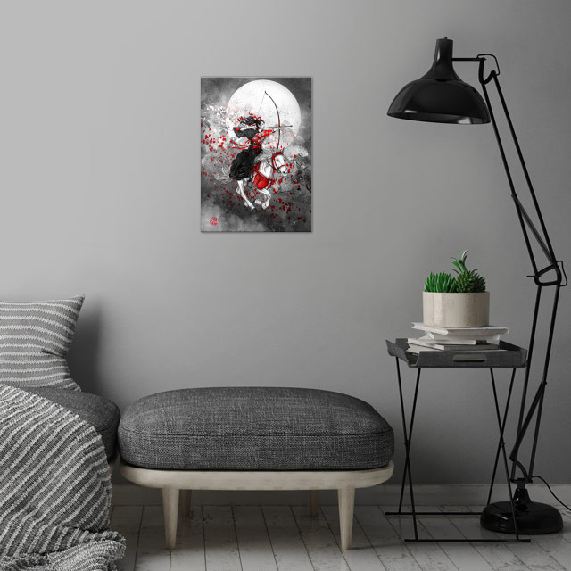 Horse and Rider - Yabusame wall art is showcased in interior