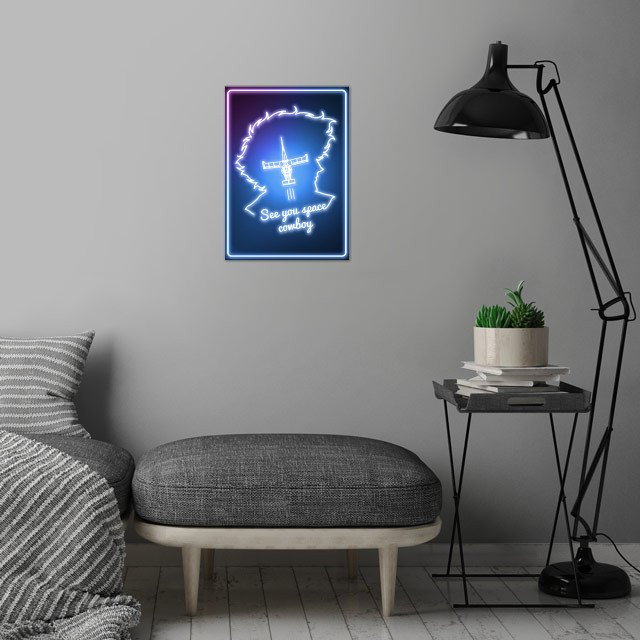 Line Space Cowboy wall art is showcased in interior