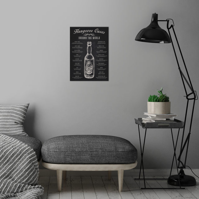 The Hangover Cures from Around The World wall art is showcased in interior