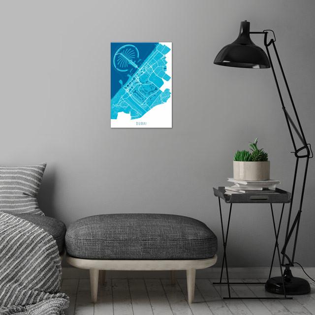 Dubai Map Blue wall art is showcased in interior