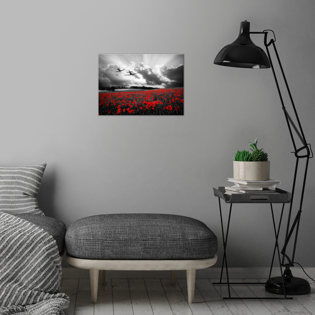 Spitfires over a poppy field wall art is showcased in interior