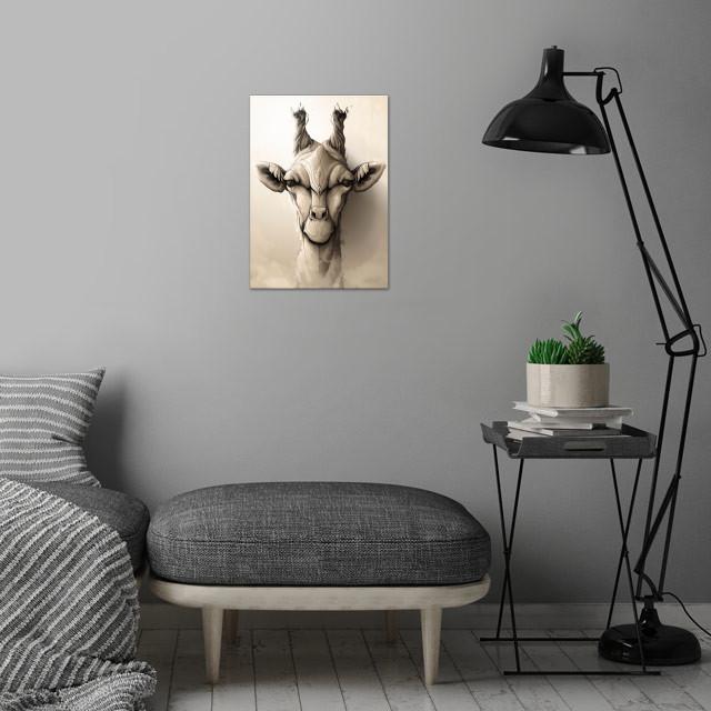 Giraffe wall art is showcased in interior