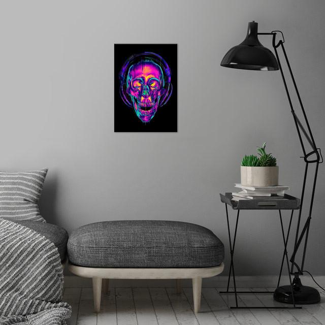 Trippy Skull Metal Poster Trippy Skull Wall Art Is Showcased In Interior