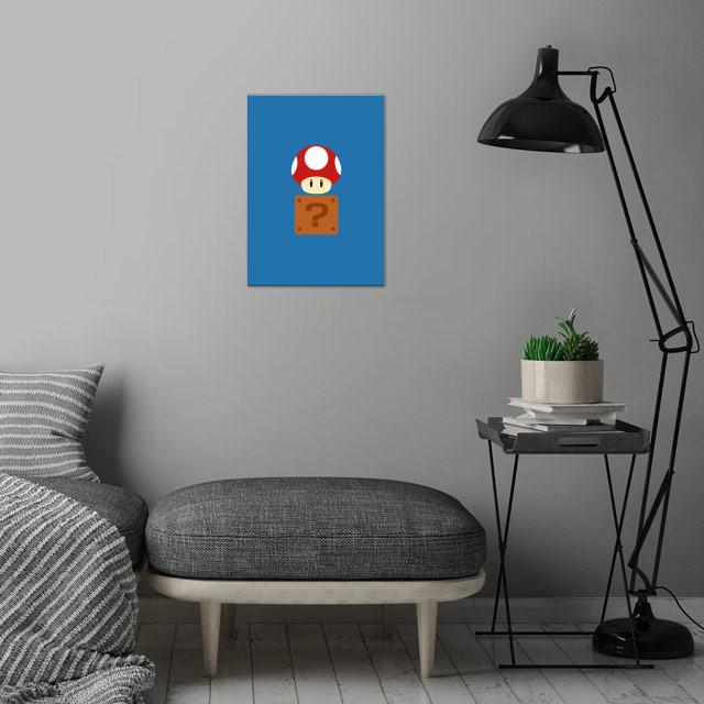 Mario Bros - Red Mushroom + Box wall art is showcased in interior