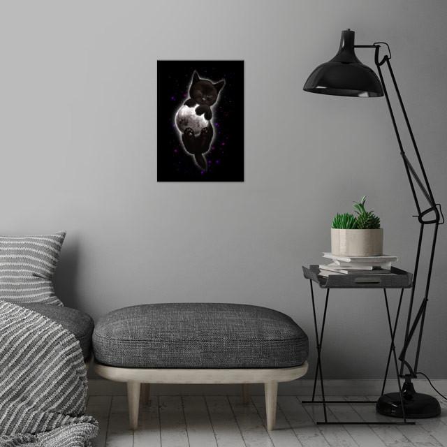 CAT HUGGING MOON wall art is showcased in interior