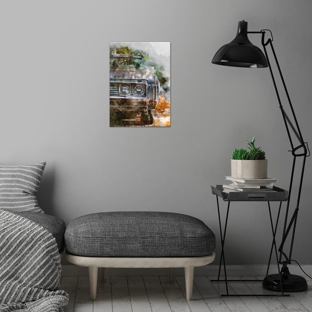 watercolor / cars / paint wall art is showcased in interior