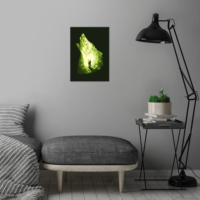 Wolf's Forest wall art is showcased in interior