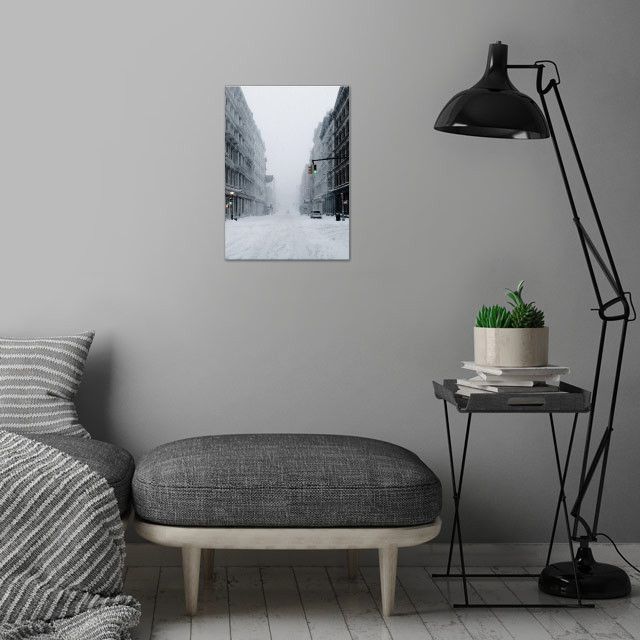 Snowing wall art is showcased in interior