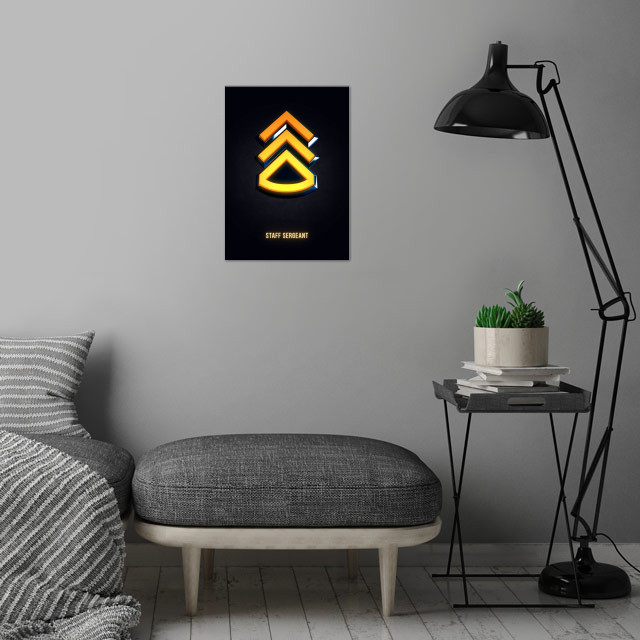Staff Sergeant - Military Insignia 3D wall art is showcased in interior