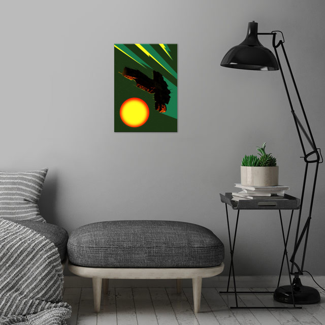 Icarus wall art is showcased in interior