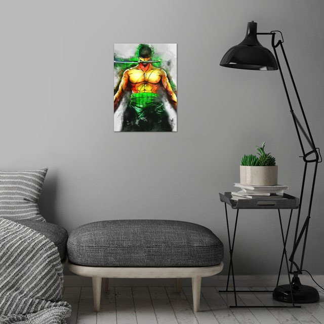Zoro / OnePiece / WaterColor wall art is showcased in interior