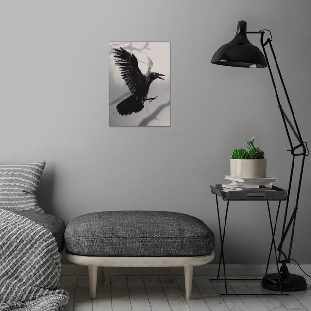Crow wall art is showcased in interior