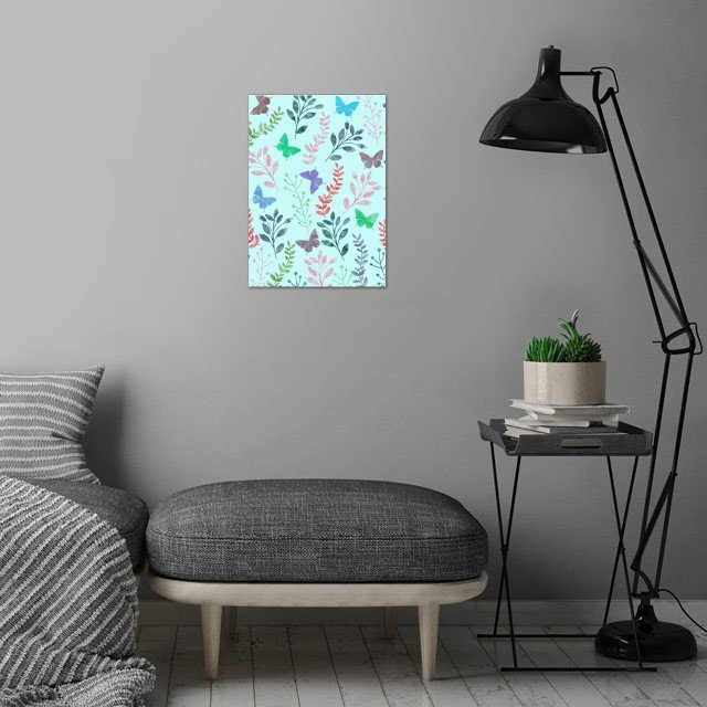 Watercolor Floral & Butterfly wall art is showcased in interior