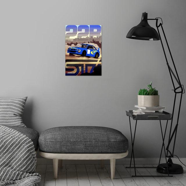 Subaru STI wall art is showcased in interior