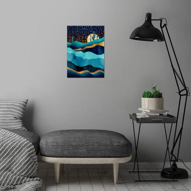 Indigo Desert Night wall art is showcased in interior