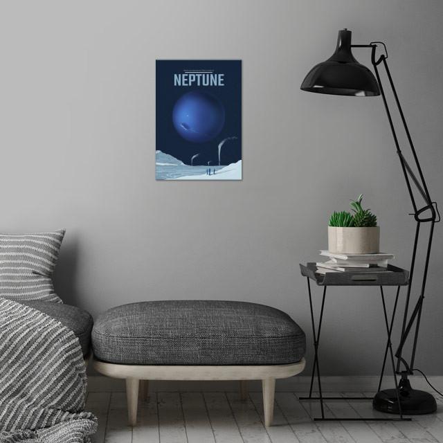 Neptune wall art is showcased in interior