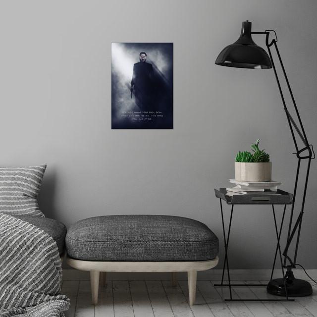 John Wick / Tagline wall art is showcased in interior