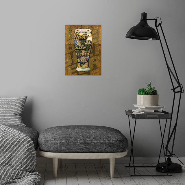 Have a cold one wall art is showcased in interior