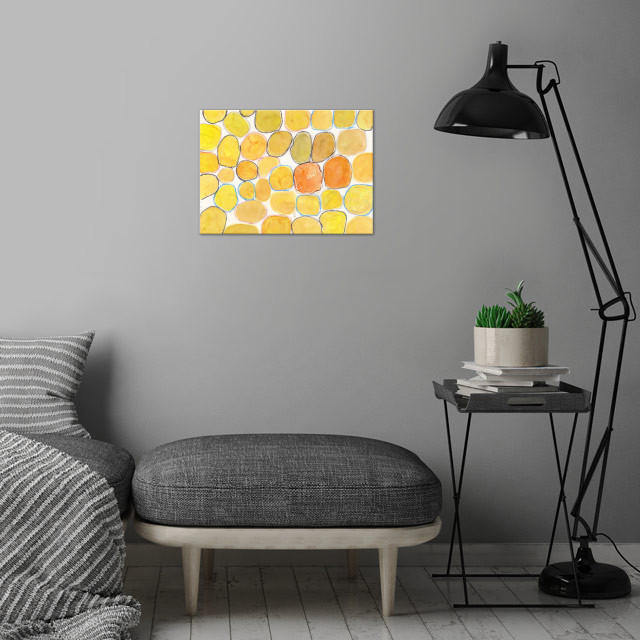 Cheerful Orange Gathering wall art is showcased in interior