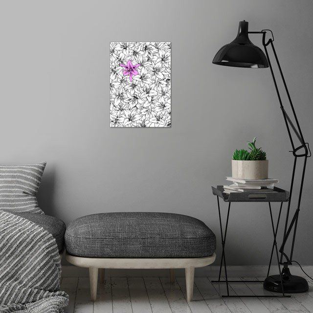 Pink Lilium wall art is showcased in interior