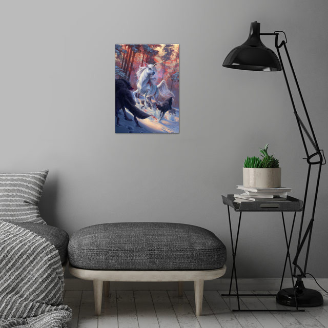 The Hunt wall art is showcased in interior